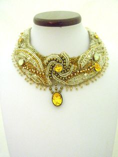 "Wedding jewelry , Bead Embroidered Bib Collar , wedding   Necklace , spring jewelry  "" Le Grand Manege de Paris "". $373.00, via Etsy."
