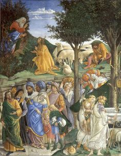 BOTTICELLI, Sandro Italian Early Renaissance (c 1445-1510) _The Trials and Calling of Moses 1481-82 LEFT SIDE