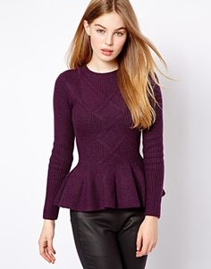 Shop Ted Baker Cable Knit Sweater with Peplum Hem at ASOS. Winter Blouses, Peplum Sweater, Cable Knit Jumper, Dress Me Up, Ted Baker, Work Wear, Winter Outfits, Tunic Tops, Street Style