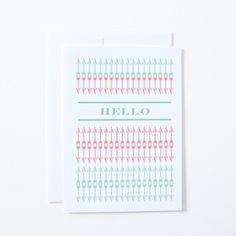 SALE Hello Cards with Arrow Patterns in Pink by thinkandinkstudio, $5.00