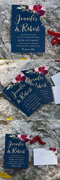 Cheap Lush Floral Navy, Masarla and Blush Wedding Invitation Cards #invitations#weddings#navy#2018trends