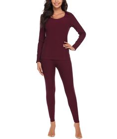 Women s Thermal Underwear Set Top  amp  Bottom Smooth Knit Winter Base  Layering Set - Wine 381470836