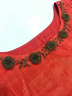 To customize, whatsapp 9043230015 for Saree, Blouse and Kurtis Embroidery On Kurtis, Kurti Embroidery Design, Embroidery Neck Designs, Embroidery Dress, Beaded Embroidery, Churidar Designs, Dress Neck Designs, Blouse Neck Designs, Blouse Patterns