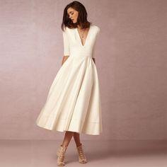 V Neck Half Sleeve Solid A-line Party Dress - OASAP.com