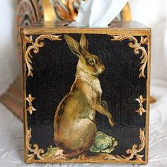 This vintage-inspired Standing Hare design is decoupaged on each side of a 5 by wood tissue box cover. The artwork also includes Robin's signature crackle design. Created in her Colorado studio, this tissue box ships free in the U. Tissue Box Covers, Tissue Boxes, Rabbit Pictures, Some Bunny Loves You, Rabbit Art, Bunny Art, Covered Boxes, Cute Crafts, Animal Paintings
