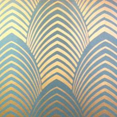 Metallics on wallpaper are reminiscent of the 1920's with the bold colours and shiny metal surfaces #artdeco #pattern #wallpaper More
