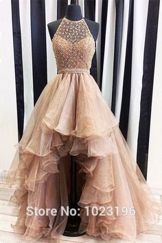 Cheap prom dresses 2017, Buy Quality low prom dresses directly from China prom dresses Suppliers: Hot Champagne High Low Prom Dresses 2017 Halter Neck Beaded Lace Organza Party Dresses Short Front Long Back Formal Dresses