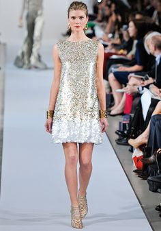Oscar de la Renta Pre-Fall 2013 / Sparkle Gold & Silver Sequined Short Holiday Party Dress