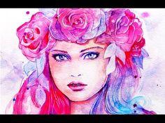 Watercolour Portrait Techniques - Crown of Roses - YouTube
