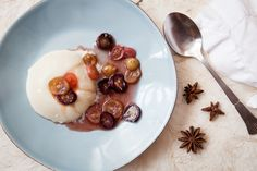 Goat's milk panna cotta with star anise and grape compote
