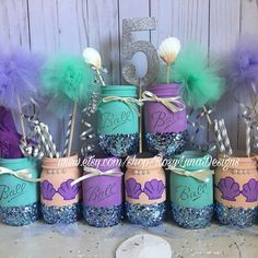 Mermaid mason jar party set the set includes one pint mermaid and two pint solid colors teal and purple theme under the sea centerpiece Mermaid Theme Birthday, Little Mermaid Birthday, Little Mermaid Parties, Girl Birthday, Mermaid Themed Party, Purple Birthday, Princess Birthday, Mermaid Diy, Baby Mermaid