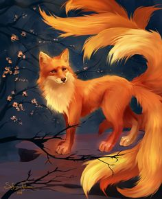 Tiere fuchs Please What a tail Cute Fantasy Creatures, Mythical Creatures Art, Magical Creatures, Fox Fantasy, Fantasy Art, Cute Animal Drawings, Cute Drawings, Wolf Drawings, Anime Animals
