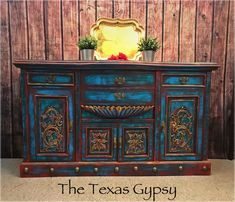 Painted Furniture Portfolio Photo from my shop: Antique Rustic Boho Buffet Sideboard Dresser Credenza Server TV Console Distressed Furniture, Funky Furniture, Paint Furniture, Repurposed Furniture, Cheap Furniture, Shabby Chic Furniture, Furniture Projects, Rustic Furniture, Furniture Makeover