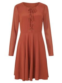 Kleid Langarm mit Schnürung - orange- German SheIn(Sheinside)