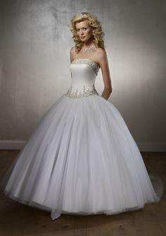 Popular Applique Strapless Beads Working Chapel Train Gauze Satin Ball Gown Wedding Dress for Brides
