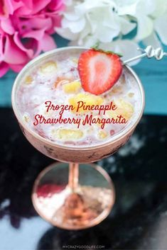 It can be summer everyday with this delicious frozen margarita recipe–it's a Frozen Pineapple Strawberry Margarita. Cool off or chill out with this tasty summer margarita recipe! Low Calorie Cocktails, Fun Cocktails, Yummy Drinks, Yummy Food, Tasty, Happy Hour Food, Easy Pressure Cooker Recipes, Frozen Pineapple, Pineapple Recipes