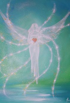 """Limited angel art photo """"connected through the heart"""" , modern angel painting, artwork, perfect also for picture frame Fantasy Kunst, Fantasy Art, I Believe In Angels, Photo D Art, Angel Pictures, Angels Among Us, Guardian Angels, Angel Art, Oeuvre D'art"""