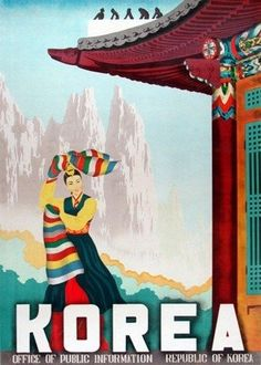 Korea, such a beautiful vintage poster Poster Retro, Vintage Art Prints, Vintage Travel Posters, Vintage Maps, South Korea Travel, Asia Travel, Travel Tourism, Travel Destinations, Logo Voyage