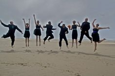 Wedding photography idea for the wedding party: jump in the air!