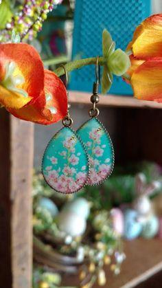 Floral Dangle Drop Earrings Bronze Flower Spring Fashion Jewelry