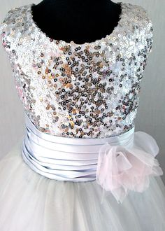 Girls silver, grey chiffon and sequin party dress, flower girl dress – Posh Tots Formal Dresses For Weddings, Wedding Dresses, Sequin Party Dress, Chiffon Flowers, Classy Dress, Special Occasion Dresses, A Line Skirts, Flower Girl Dresses, Sequins