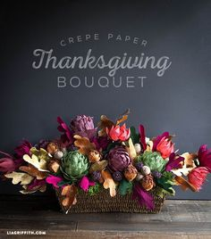 Crepe Paper Floral Arrangement for Your Thanksgiving Table