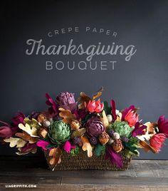Crepe Paper Floral Arrangement for Your Thanksgiving Table