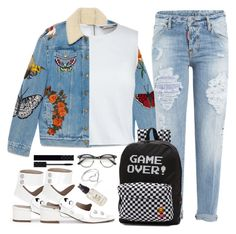 """""""Untitled #1706"""" by anarita11 ❤ liked on Polyvore featuring Gucci, Canvas by Lands' End, Dsquared2, Vans, Olivine and Jordan Askill"""