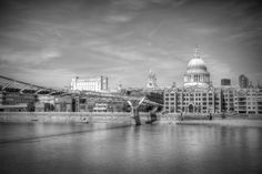 A view of St Pauls Cathedral with a B&W conversion. <br /> David Henderson Photography Fine Art Print