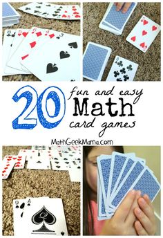 A great collection of fun math card games! These are easy, and in most cases all you need is a deck of cards! A collection of dozens of the best math card games for Kindergarten through high school, organized by math topic to help you find what you need! Math Card Games, Card Games For Kids, Dice Games, Easy Math Games, Cool Math For Kids, E Learning, Learning Process, Math Stations, Math Centers