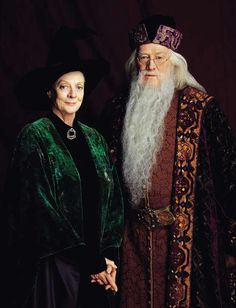 Headmaster Albus Dumbledore (as played by Richard Harris) and Deputy Headmistress Minerva McGonagall (as played by Dame Maggie Smith) in the 1st Harry Potter movie.