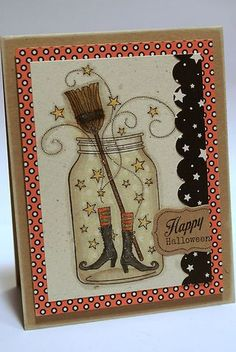 Papertrey Ink stamps: Friendship Jar and Friendship Jar fall Fillers Cute Cards, Diy Cards, Fall Cards, Holiday Cards, Mason Jar Cards, Halloween Cards, Happy Halloween, Halloween Clothes, Halloween Scrapbook