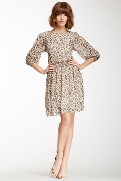 3/4 Sleeve Print Smocked Dress
