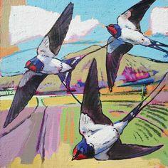 Swallows by Daniel Cole Paintings I Love, Animal Paintings, Globe Art, Nature Sketch, Bird Artwork, Lovely Creatures, Bird Pictures, Wildlife Art, Art Portfolio