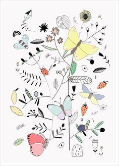 Affiche Thème Printemps, Nature, Papillons - Studio Meez