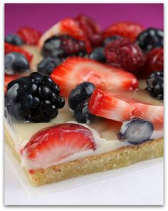 Summertime sweets! Make this Gluten Free with Mama's Sugar Cookie Mix. Fruit pizza w/sugar cookie dough & white chocolate.