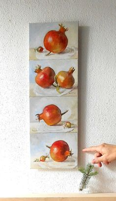 Four Pomegranate Panel Original Fruit by BarraganPaintings, Watercolor Drawing, Watercolor Paintings, Watercolors, Pomegranate Art, Diy Craft Projects, Crafts, Home Decor Paintings, Painting Still Life, Food Drawing