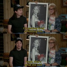70d495cc wayne's world, party time, excellent! Mike Myers Movies, Party On Garth,