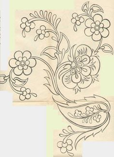 pattern for Bauernmalerei Jacobean Embroidery, Hand Embroidery Patterns, Beaded Embroidery, Beading Patterns, Embroidery Stitches, Embroidery Designs, Flower Embroidery, Fabric Patterns, Hena
