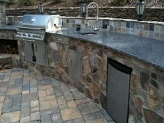 Charlotte Outdoor Kitchen Pictures, granite countertops, stainless outdoor grill,