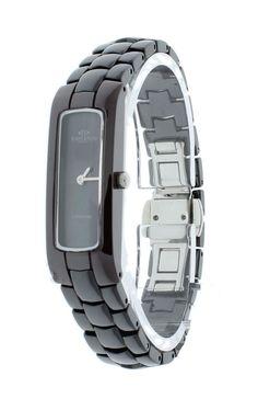 77346851141 Oniss ON8045-LBK BK Women s Watch Slim Black Dial Black Ceramic Band  Burgundy Case