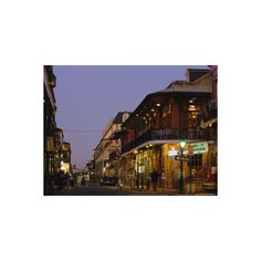 Bourbon Street in the Evening, New Orleans, Louisiana, USA... ($40) ❤ liked on Polyvore featuring home, home decor, wall art, artists, new orleans home decor, interior wall decor, new orleans posters, new orleans wall art and wall posters
