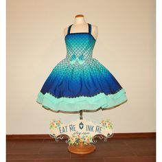 Mermaid Lolita Dress in Ombre Blue Seafoam Green With Scales Print... ($140) ❤ liked on Polyvore featuring dresses, grey, women's clothing, black lace cocktail dress, gray cocktail dress, chiffon cocktail dress, women dresses and black dress