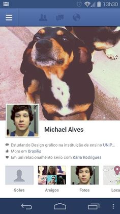 My facebook, my dog on background, cool