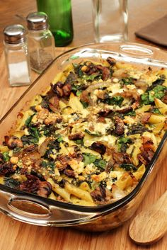 Steakhouse Mac 'n Cheese Bake With Penne Pasta, Steak, Mushrooms, Spinach, Garlic, White Onion, Heavy Cream, Parmesan Cheese, Crumbled Blue Cheese, Extra-virgin Olive Oil, Nutmeg, Salt, Pepper, Water