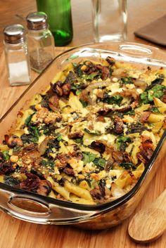 Steakhouse Mac 'n Cheese Bake With Penne Pasta, Steak, Mushrooms, Spinach, Garlic, White Onion, Heavy Cream, Parmesan Cheese, Crumbled Blue Cheese, Extra-virgin Olive Oil, Nutmeg, Salt, Pepper, Water