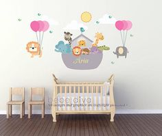 Noah's Ark Wall Decal, Nursery Decor, Modern Wall Decals, Non Toxic Wall Decals, Removable Reusable