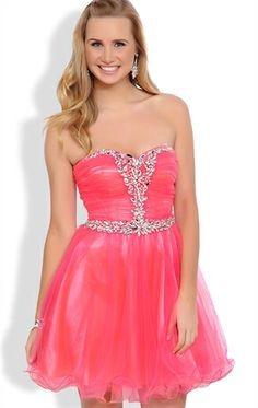 Deb Shops Neon Pink Strapless Short Prom Dress with Stone Trim Bust and Mesh Skirt