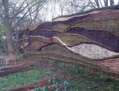 Woven twig fence