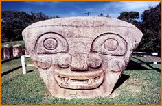 San Agustin Park in Colombia is a UNESCO'S World Heritage Place. Máscara Cultura Agustiniana